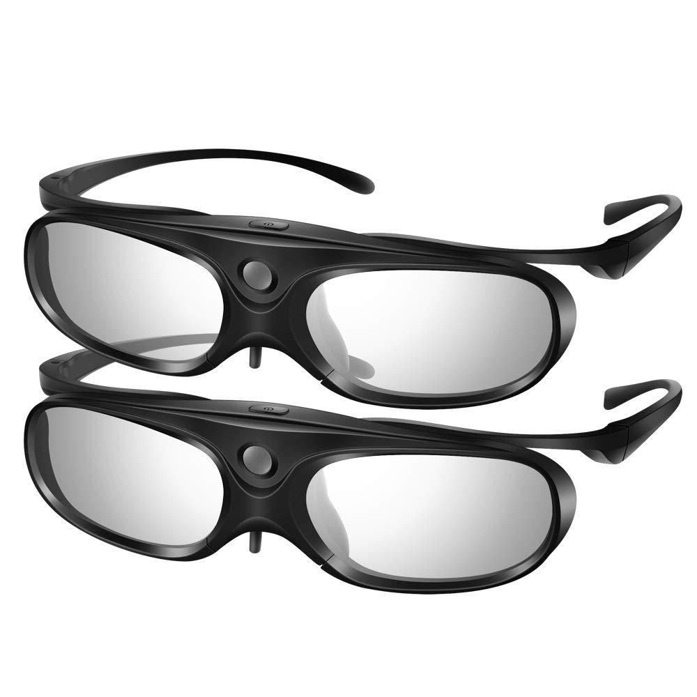 Elikliv 3D Glasses Active Shutter DLP Link Clip On Compatible with Optoma Benq Sharp Acer Samsung Projector (Pack 2)