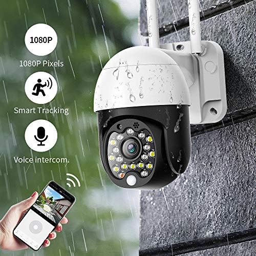 Mini Outdoor Security Camera, SDETER 1080P Pan Tilt Zoom Surveillance CCTV IP Weatherproof Camera with Colorful Night…