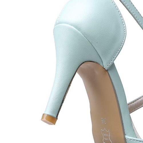 AllhqFashion Womens Pu Solid Buckle Pointed Closed Toe Spikes Stilettos Pumps Shoes Blue dai2V