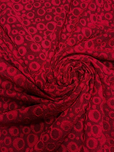 Polyester Acetate Slinky Spandex Fukuro Jacquard Texture Fabric W/Circle Dots (Red)