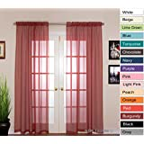 "NIM Textile Elegant Sheer Voile Curtains Panels, Rod Pocket Top, 110"" W x 96"" L, 2 Panels Set, Deep Red, Love Inn Collection"