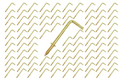 FGen 100pcs L Type Photo Frame Copper Plated Right Angle Hook Fixed Cup Hook Metal Right Angle Hook 2.16 inch (Gold)