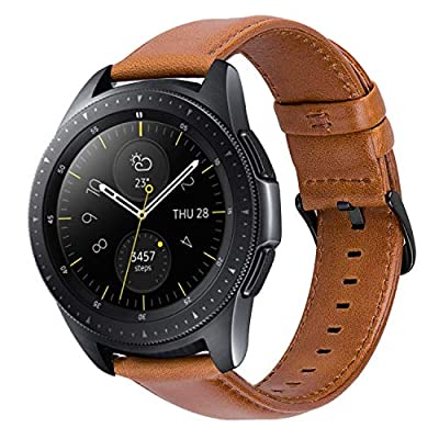 MroTech Cinturino 20 mm Pelle Compatibile per Samsung Galaxy Watch 42mm/ Galaxy Active/Gear S2 Classic, Amazfit bip, Garmin Vivoactive 3 / V?vomove HR, TicWatch E, Huawei 2 20 mm Band Marrone