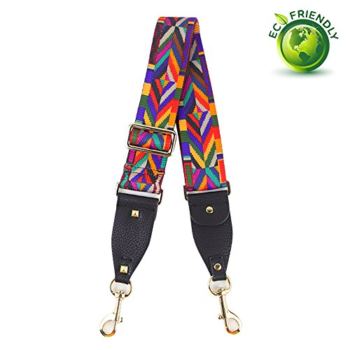 Myathle 2 Wide Purse Strap Replacement Guitar Style Colorful Canvas Crossbody Bag Straps for Handbags