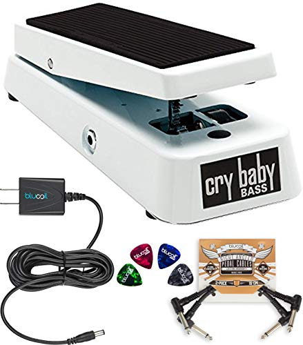 Jim Dunlop 105Q Cry Baby Bass Wah Pedal Bundle with Blucoil Power Supply Slim AC/DC Adapter for 9 Volt DC 670mA, 2 Pack of Pedal Patch Cables and 4 Celluloid Guitar Picks