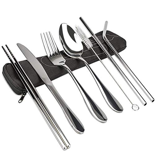 Portable Utensils Set, 7 Pieces Reusable Flatware Set Rustproof Stainless Steel Tableware Dinnerware Fork Knife Spoon with Portable Case for Travel Camping School Kids Office Hiking Camp and Other