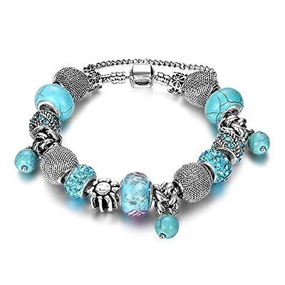 NYKKOLA Beaded Bracelet Womens Handmade Retro Turquoise Rhinestone Carved Sterling Silver Plated Snake Chain Charm Bracelet