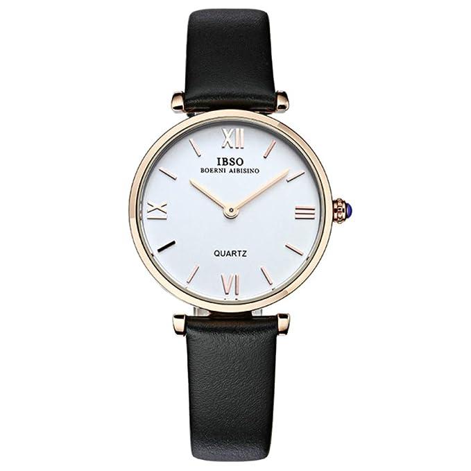 YANJJ Relojes Ultrafinos Para Mujer Simples Y Elegantes Reloj De Cuarzo Para Mujer Correa De Cuero