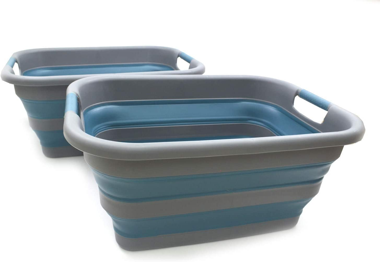 SAMMART Collapsible Plastic Laundry Basket - Foldable Pop Up Storage Container/Organizer - Portable Washing Tub - Space Saving Hamper/Basket (2, Grey/Deep Blue)