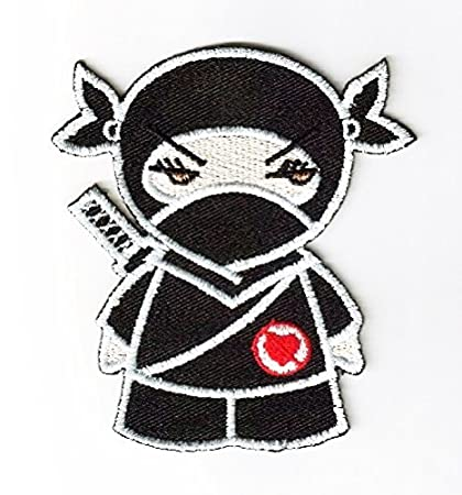 Ninja Cartoon Patch Embroidered Iron on Hat Jacket Hoodie Backpack Ideal for Gift/7.5cm(w) X 8.2cm(h)