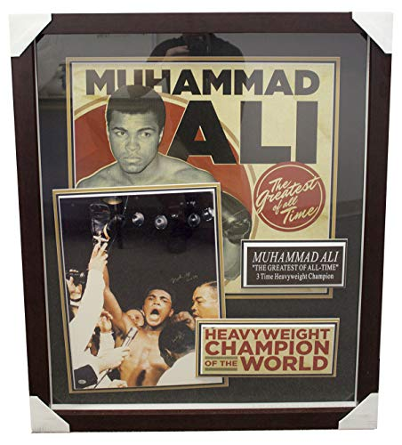 (Muhammad Ali Framed Shadowbox Featuring Autographed Signed Photo and Promo Art Print - PSA/DNA Authentic)