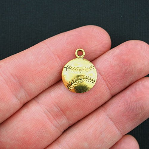 Extensive Collection of Charm 10 Baseball Charms Antique Gold Tone - GC280 Express Yourself