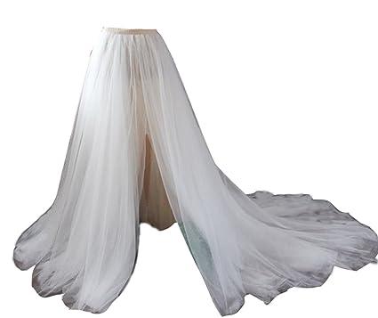 b564564d18 flowerry Women Ivory Detahable Wedding Train Long Tutu Tulle Dress Overskirt  Split Design XS