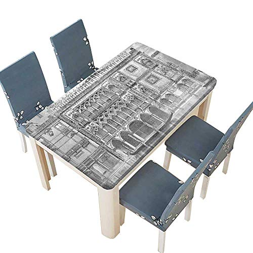(PINAFORE Decorative Tablecloth th Century Engraving of Grand Canal Venice Monument Landmark Black White Table Cover for Dining Room and Party W41 x L80.5 INCH (Elastic Edge))