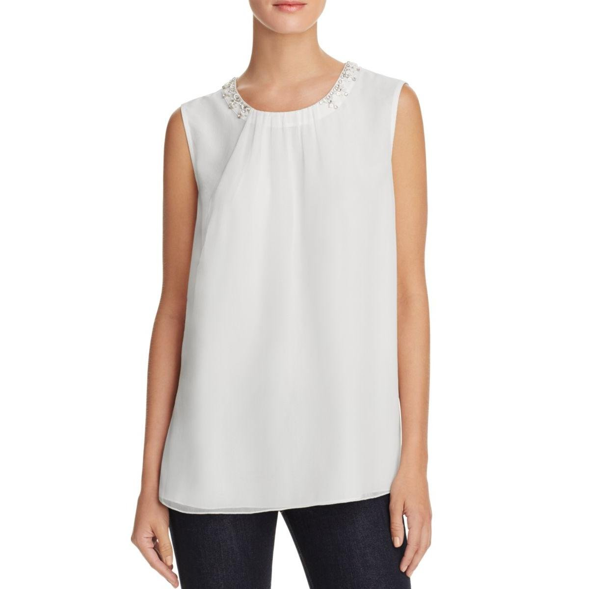 Magaschoni Womens Silk Sequined Casual Top White 14