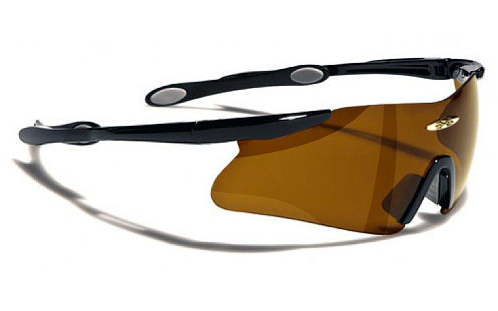 X-Loop Lunettes de Soleil - Protection - Cyclisme - Ski - Running - Moto - Tennis / Mod. 055P Noir Marron Xloop X055Pf