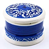 ART ESCUDELLERS Ceramic JEWELLERY BOX Nº2 handmade and handpainted in BLUE MEDITERRANEAN decoration. 3,15'' x 3,15'' x 2,17''