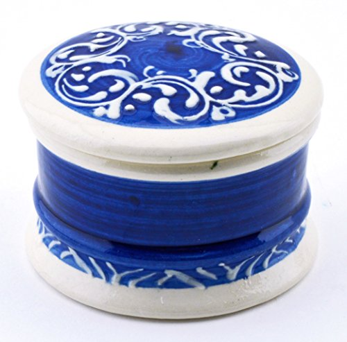 ART ESCUDELLERS Ceramic JEWELLERY BOX Nº2 handmade and handpainted in BLUE MEDITERRANEAN decoration. 3,15'' x 3,15'' x 2,17'' by ART ESCUDELLERS