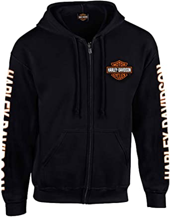 Harley Davidson Men's Hooded Sweatshirt, Bar & Shield Zip Black Hoodie 30299142