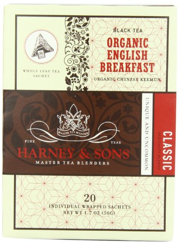 Harney and Sons Organic Tea Bags, English Breakfast, Net Wt. 1.7 Oz, 20 Count -