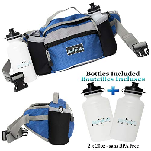 GENIUS EARTH Travel Fanny Pack with Bottle Holders + Set of 2 BOTTLES INCLUDED. Waterproof Multi-Purpose Pouch and Lumbar Waist Bag - Fits Women, Men and Kids. Perfect Hiking - Day Pack. Royal Blue