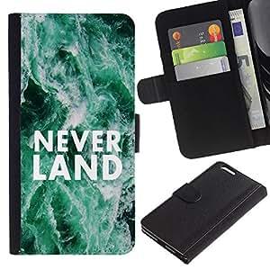 """Apple (5.5 inches!!!) iPhone 6+ Plus , la tarjeta de Crédito Slots PU Funda de cuero Monedero caso cubierta de piel ("""" Neverland Dreams Fairytale Quote Hope"""")"""