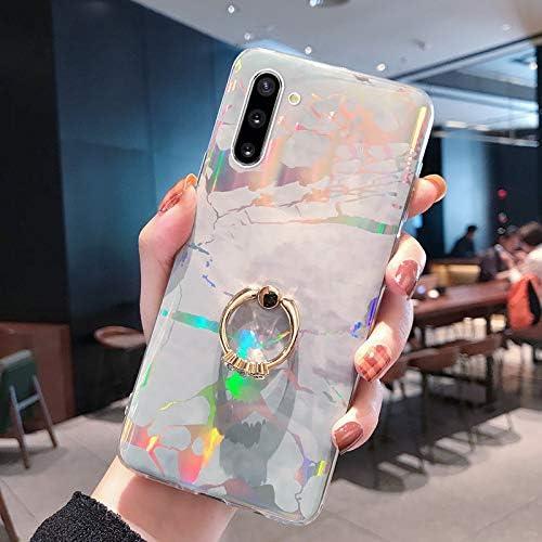 Herbests Kompatibel mit Samsung Galaxy Note 10 Hülle Handyhülle Marmor Muster Glänzend Kristall Bling Strass Diamant Silikon TPU Schutzhülle Crystal Case Tasche mit Ring Halter Ständer,Grau
