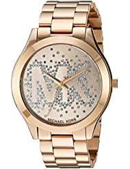 Michael Kors Womens Slim Runway Logo Gold-Tone Watch MK3590