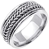 18K White Gold Braided Rope Edge Men's Comfort Fit Wedding Band (8mm)