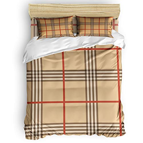 BabeMaps 4 Piece Luxury Duvet Cover Bedding Sets Twin Classic Camel Scottish Plaid Breathable Bedroom Quilt Cover with Zipper Closure and 2 Pillow Shams