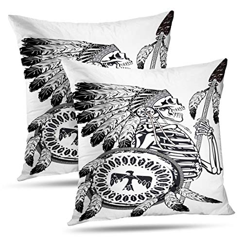 HAPPYOME Set of 2 Decorative Throw Pillow Covers Native American Skeleton Wearing War and Shield America Ancient BonePillow Case Cushion Cover for Bedroom Livingroom Sofa 18X18 -