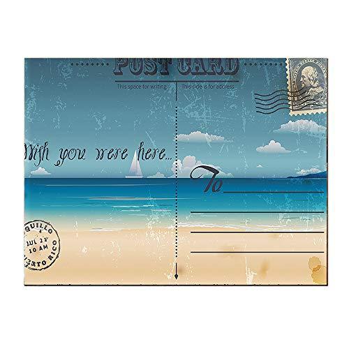 SATVSHOP Art Work for Wall decor-24Lx24W-Postcard Nostalgic Tropical Summer Backdrop on Vintage Card Stamp Travel Sand Brown Teal.Self-Adhesive backplane/Detachable Modern Decorative.