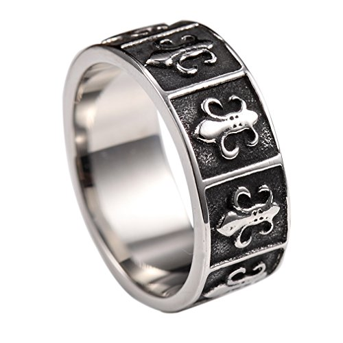 Fleur De Lis Solid Ring - Men/Women Punk Gothic Fleur De Lis Stainless Steel Finger Solid Ring Size 7-13