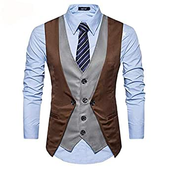 Men's Fashion Casual Wild Two-color Single-Breasted Casual Vest,Without Shirt