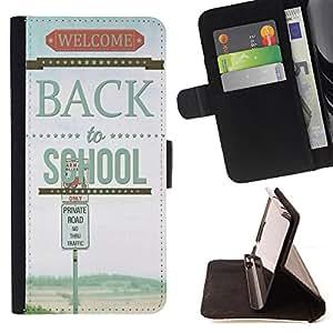 King Case - FOR Sony Xperia Z3 D6603 - back to school - Prima caja de la PU billetera de cuero con ranuras para tarjetas, efectivo Compartimiento desmontable y correa para la mu?eca