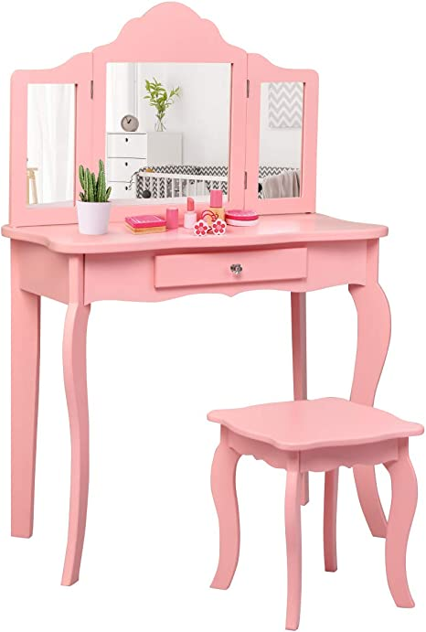 Amazon Com Costzon Kids Wooden Vanity Table Stool Set 2 In 1 Detachable Design With Dressing Table And Writing Desk Princess Makeup Dressing Table With Two 180 Folding Mirror For Girls Kids