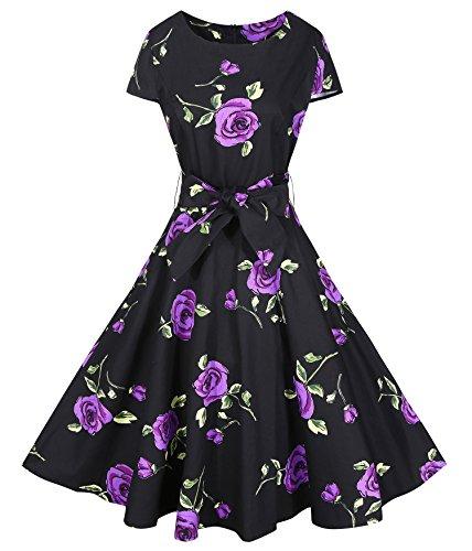 BI.TENCON Retro 1950s Cocktail Dresses Black Purple Flower Printed Vintage Style Midi Dress with Cap-Sleeves M