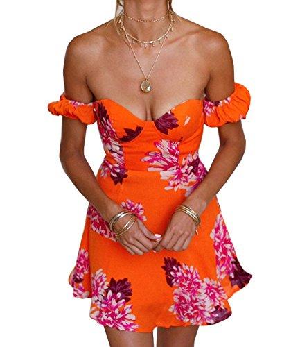 Arancione Estivo Sexy Vestito Vestiti Moda Abito Mini Partito Monika Casual a Corto da Abiti Fascia Nuda Stampa Spalla Senza Schienale Spiaggia da Donna BFxCwd