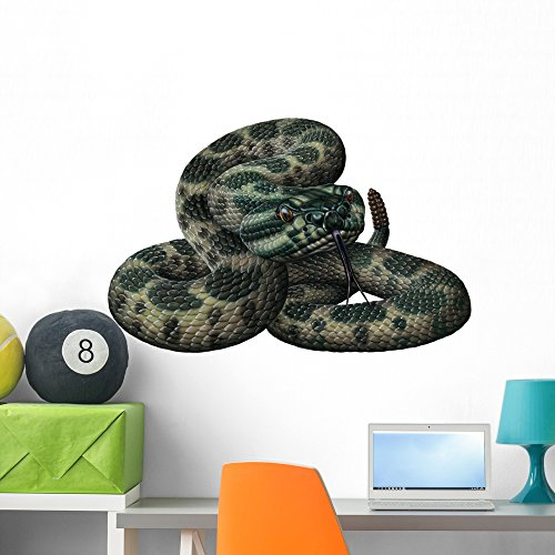 Massassauga Rattlesnake Snake Wall Decal by Wallmonkeys Peel and Stick Graphic (36 in W x 24 in H) WM128405