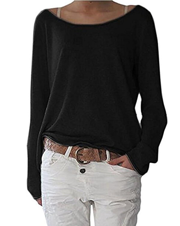 da3b805814c5dd Guiran Damen Langarm T-Shirt Rundhals Ausschnitt Lose Bluse Pullover  Oversize Sweatshirt Oberteil Tops gut