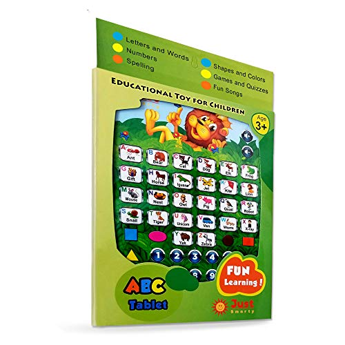 Just Smarty ABC Tablet Interactive Educational Toys for 3 Year Olds and Up | Toddler Learning Toys and Word Games for Development | Fun Activities, ABC, Numbers, Spell and Music on Pretend Kid Tablet for $<!--$11.99-->