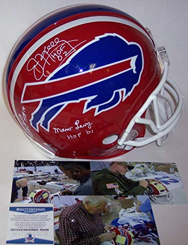 Jim Kelly/Marv Levy/Andre Reed - Autographed Official Full Size Riddell Authentic Proline Football Helmet - Buffalo Bills - BAS Beckett