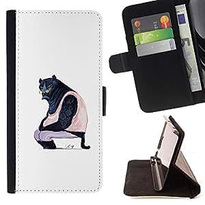 BullDog Case - FOR/Samsung Galaxy S4 Mini i9190 / - / PUMA ART BIG BLACK WILD CAT GLASSES CARICATURE /- Monedero de cuero de la PU Llevar cubierta de la caja con el ID Credit Card Slots Flip funda de cuer