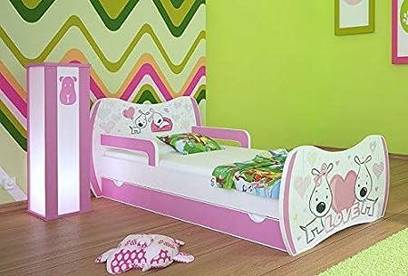 Naka24 - Cuna con colchón y canapé para niña rosa love Talla ...