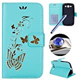 Galaxy S3 Wallet Case,Samsung Galaxy S3 Flip Case,Etsue Luxury Gold Butterfly Pattern Pu Leather Strap Wallet Case Cover with Stand and Card Holder for Samsung Galaxy S3+Blue Stylus Pen+Bling Glitter Diamond Dust Plug(Colors Random)-Butterfly,Green