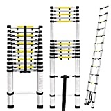Finether 16.4ft Aluminum Telescoping Extension Ladder, Portable Telescopic Ladder Certificated by EN 131 with Finger Protection Spacers, 330lbs Capacity, for Home Loft Office