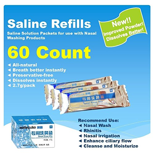 Waterpulse 60 Count Saline Nasal Care Refills,Nasal Rinse Mix,Sinus Rinse Premixed Refill Packets,Powdered Saline Convenient Packets,Salt Premixed Packets,Nose Wash Salt,Nasal Cleaning (Saline Solution Nasal Wash)