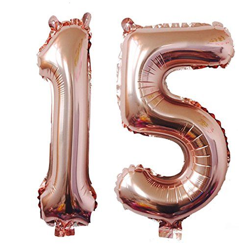 40inch Rose Gold Foil 15 Helium Jumbo Digital Number Balloons, 15th Birthday Decoration for Girls or Boys,15 Birthday Party Supplies