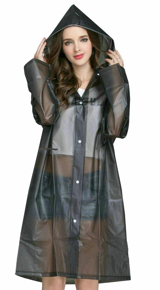 Agneta Women's Outdoor Lightweight Rain Jacket Waterproof EVA Raincoat with Adjustable Hood