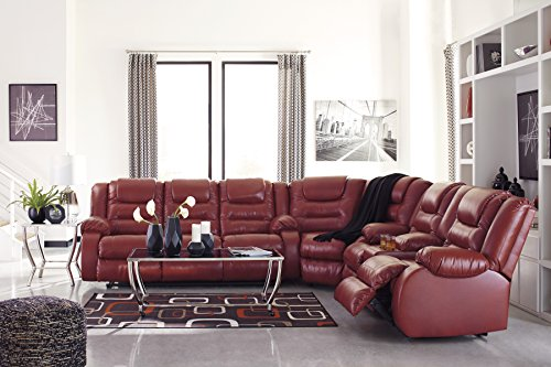 Vacherie Contemporary Salsa Color Faux Leather Reclining Sectional Sofa and Loveseat Set